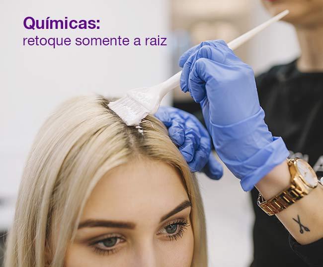 o retoque de química nos cabelos deve ser feito somente na raizz