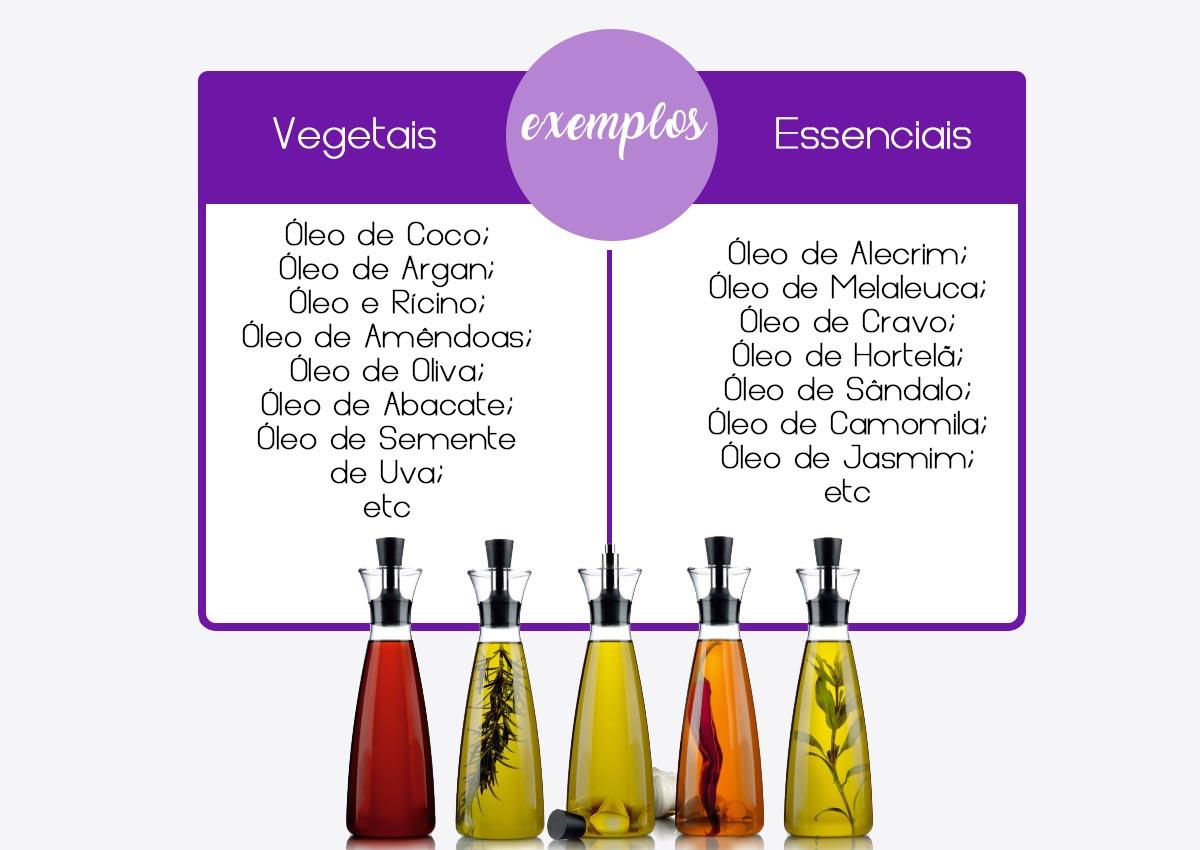 exemplos de óleos vegetais e de óleos essenciais